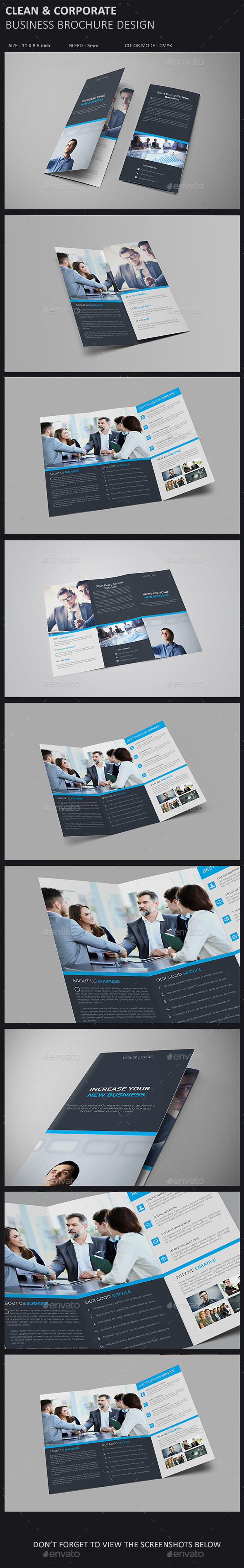 Clean & Corporate Tri-fold Brochure Template - Corporate Brochures