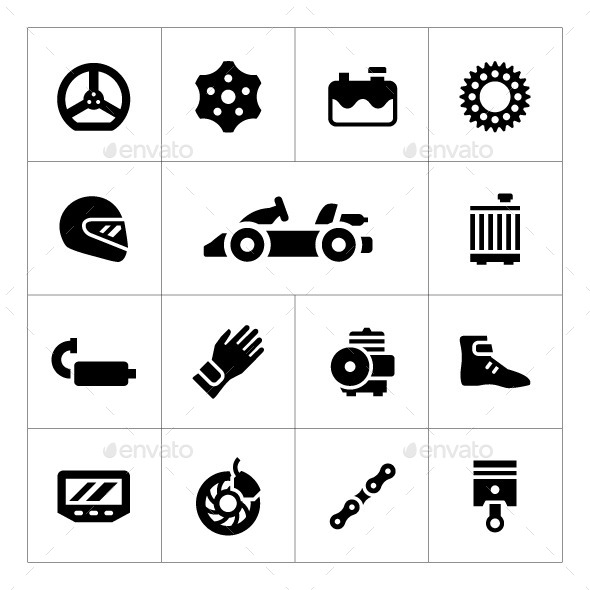 Set Icons of Karting - Man-made objects Objects