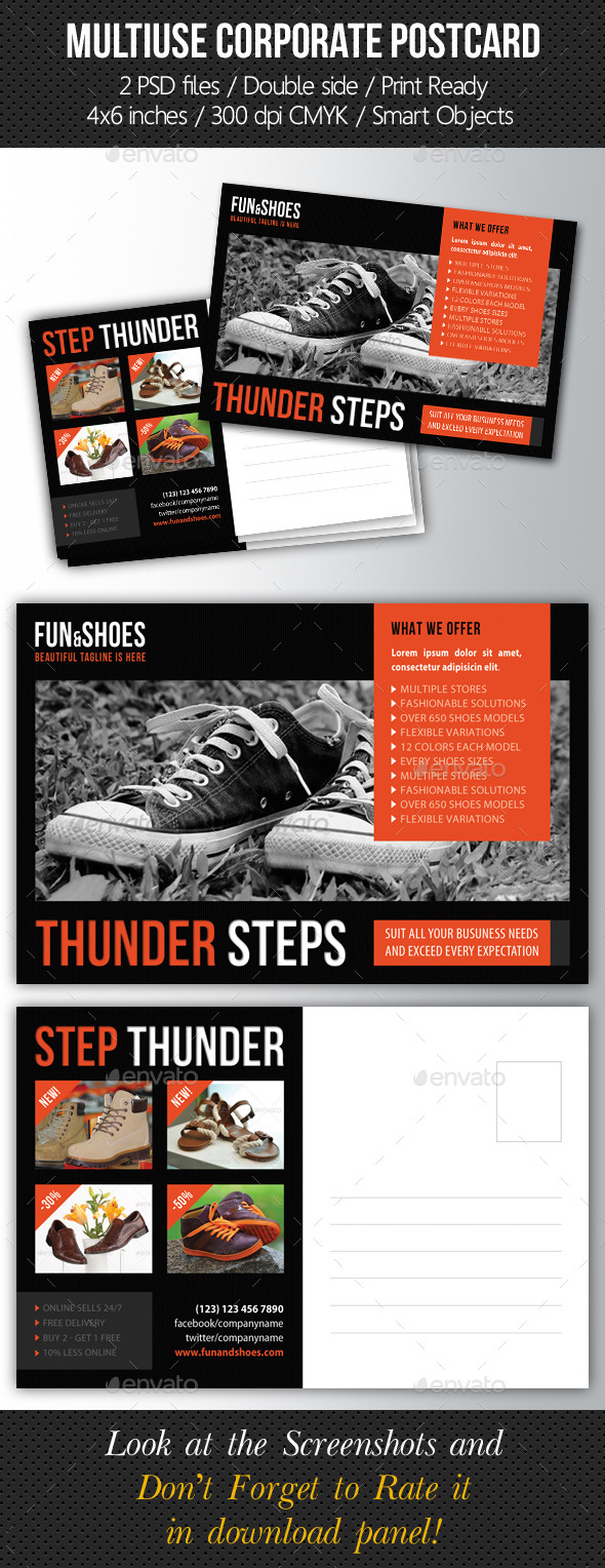 Multiuse Corporate Postcard Template - Cards & Invites Print Templates