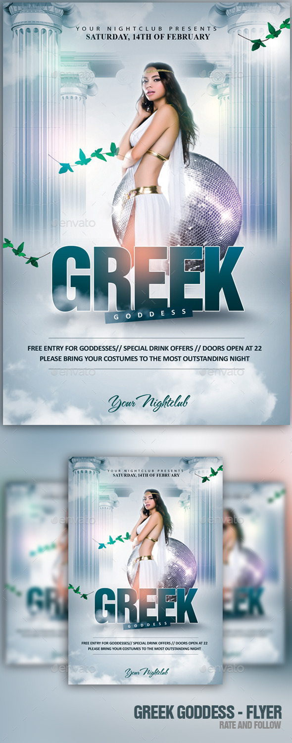 the greek goddess events flyers