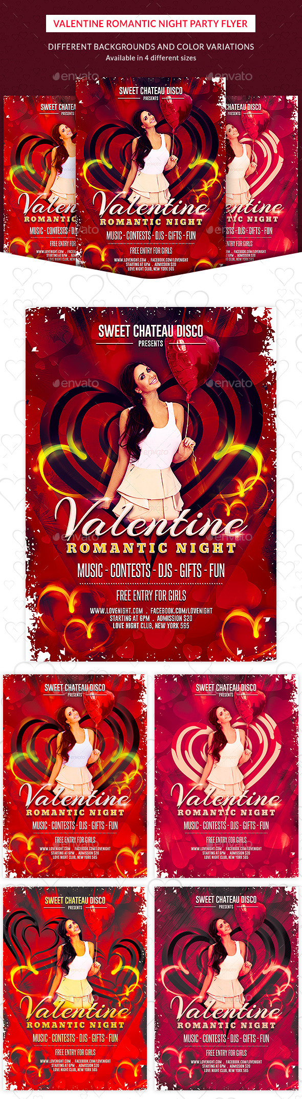 Romantic Valentine Night Party Flyer - Clubs & Parties Events