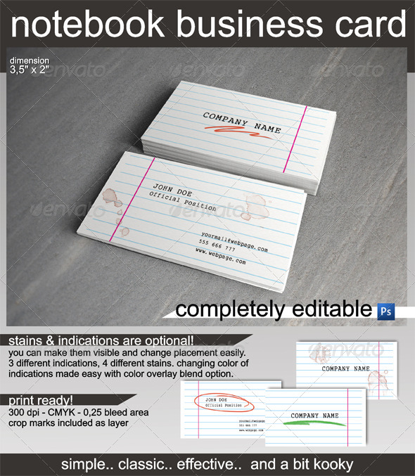 Notebook Business Card - Real Objects Business Cards