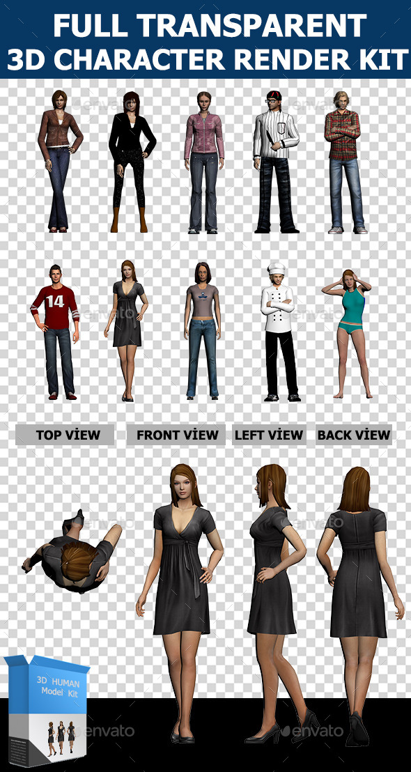 3d Human Character Collection Set - Characters 3D Renders