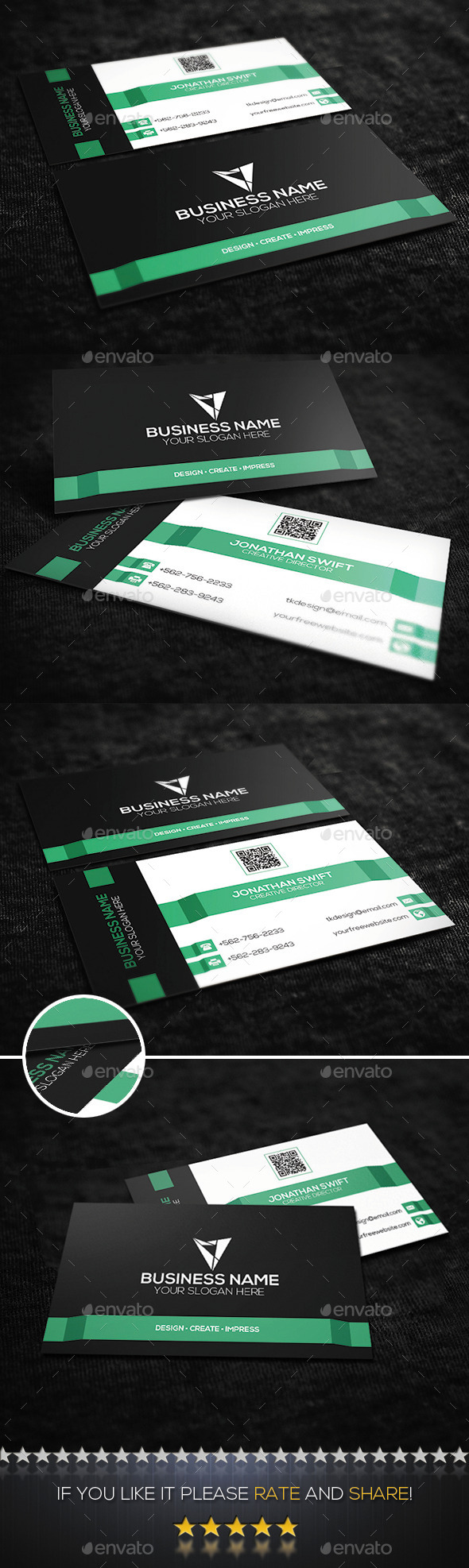 Mint Green Corporate Business Card  - Corporate Business Cards