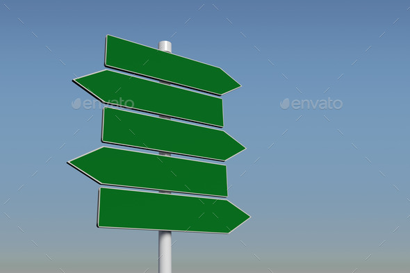 Green signpost against blue sky - Stock Photo - Images