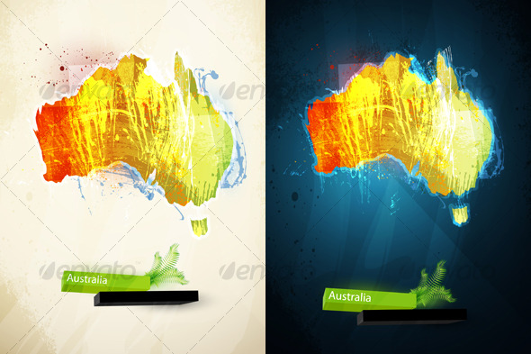 Abstract illustration of the continent Australia - Travel Conceptual