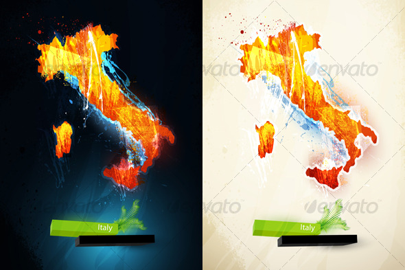 Abstract illustration of the continent Italy - Travel Conceptual