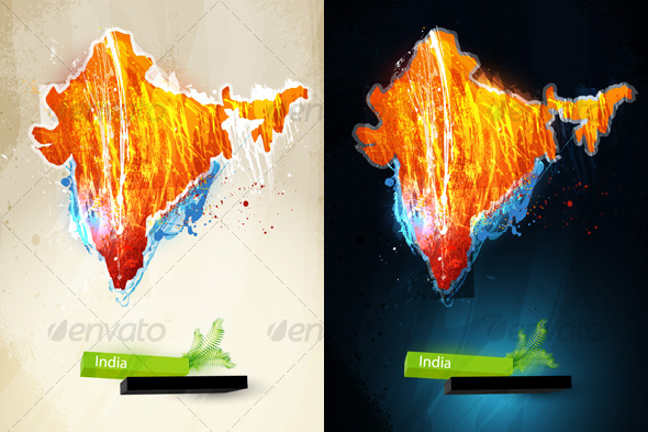 Abstract illustration of the continent India - Travel Conceptual
