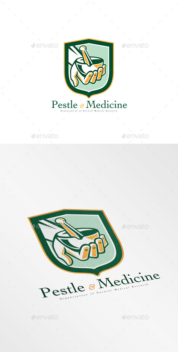 Pestle and Medicine Medical Research Logo - Objects Logo Templates