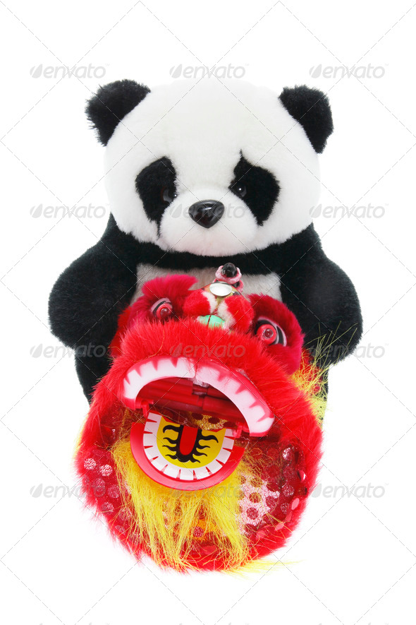 Soft Toy Panda and Lion Dance Figurine - Stock Photo - Images