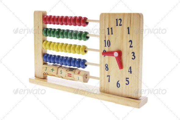 Wooden Children Abacus with Clock - Stock Photo - Images