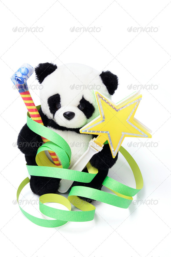 Soft Toy Panda with Party Favors - Stock Photo - Images