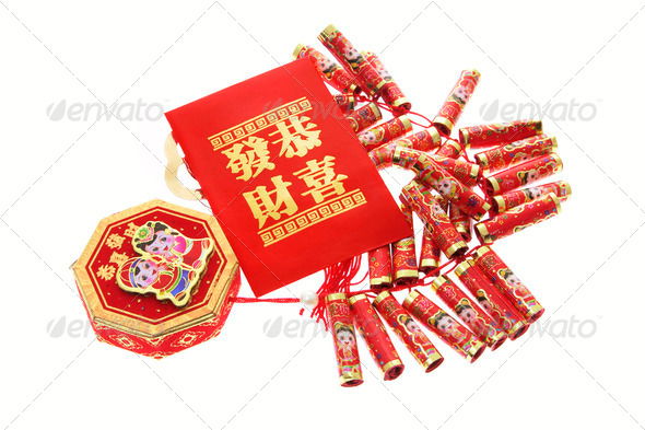 Fire Crackers and Red Packet - Stock Photo - Images