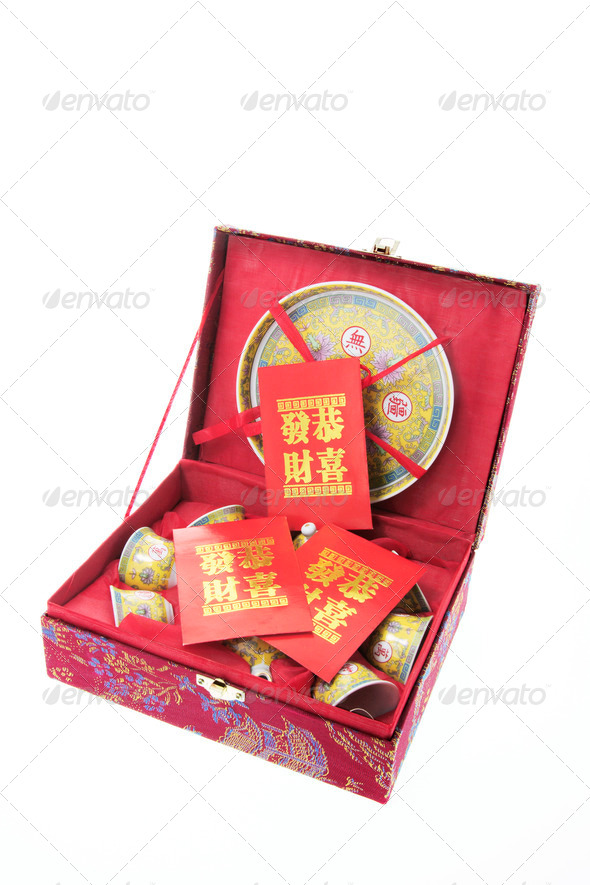 Chinese Tea Set and Red Packets - Stock Photo - Images