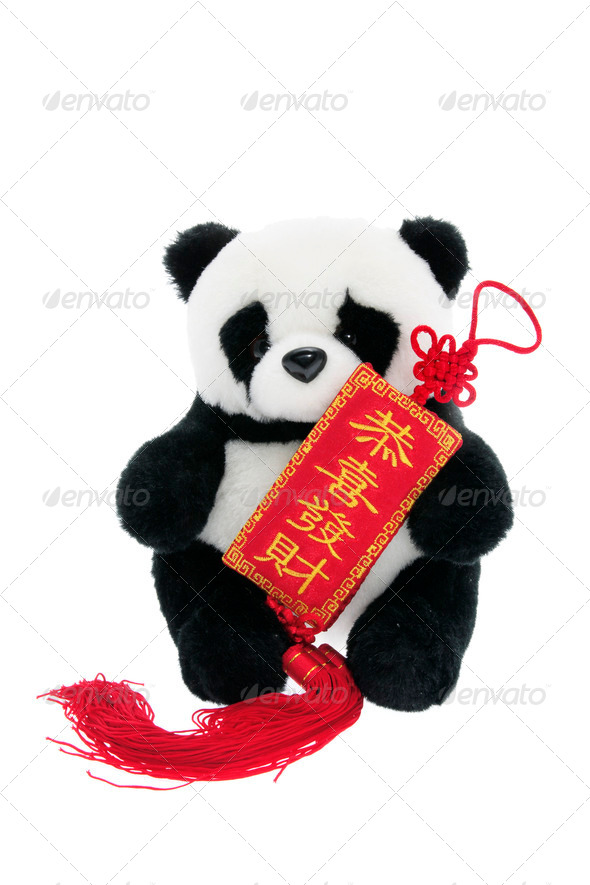 Toy Panda with Chinese New Year Trinket - Stock Photo - Images