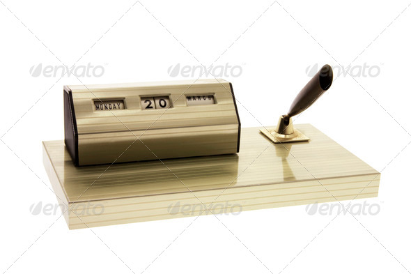 Desk Calendar and Pen Holder - Stock Photo - Images