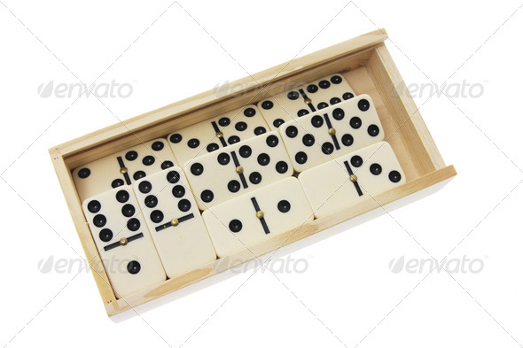 Dominoes in Wooden Box - Stock Photo - Images