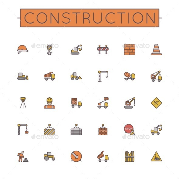 Colored Construction Line Icons - Industries Business