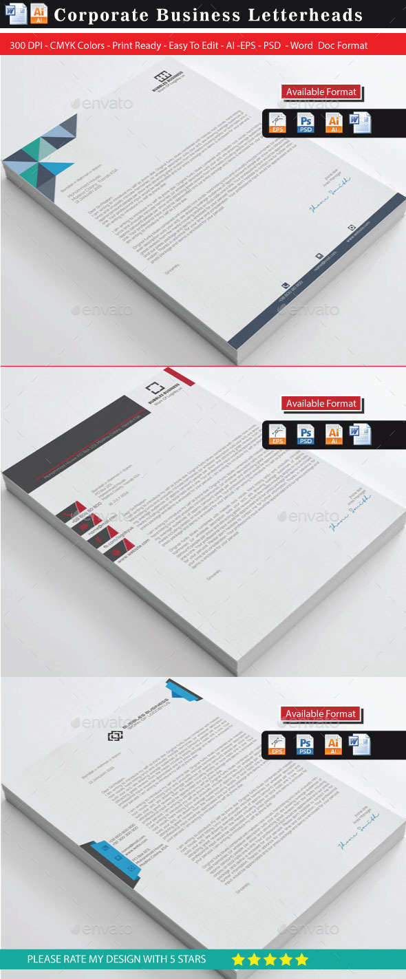 Creative & Modern Letterhead Bundle - Stationery Print Templates
