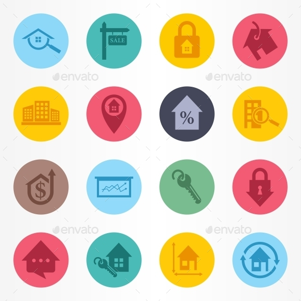 Real Estate Circle Icons Set - Buildings Objects