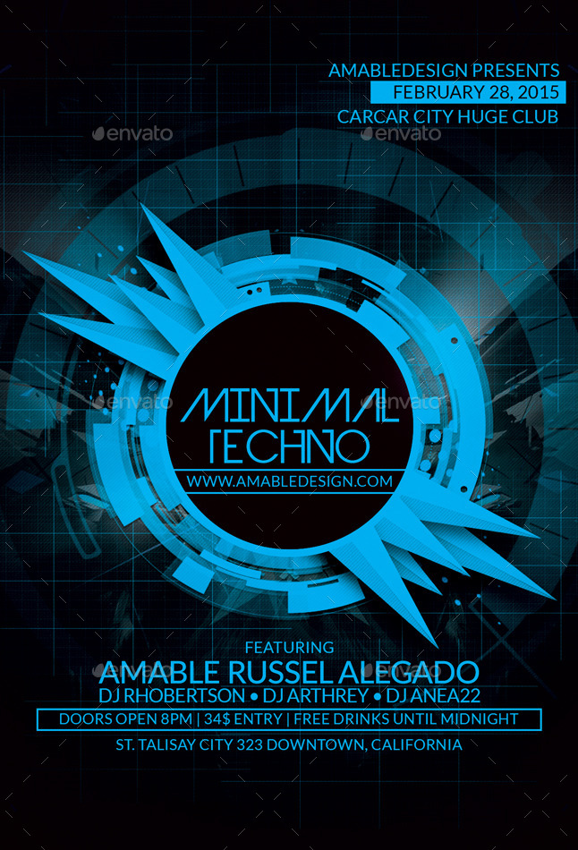 minimal techno flyer by amabledesign