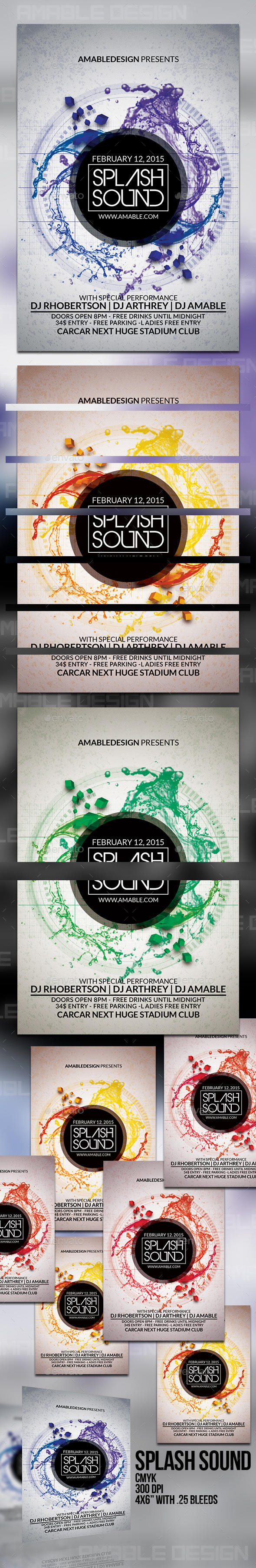 Splash Sound Flyer - Clubs & Parties Events