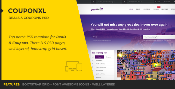 CouponXL - Deals & Coupons PSD Template - Marketing Corporate