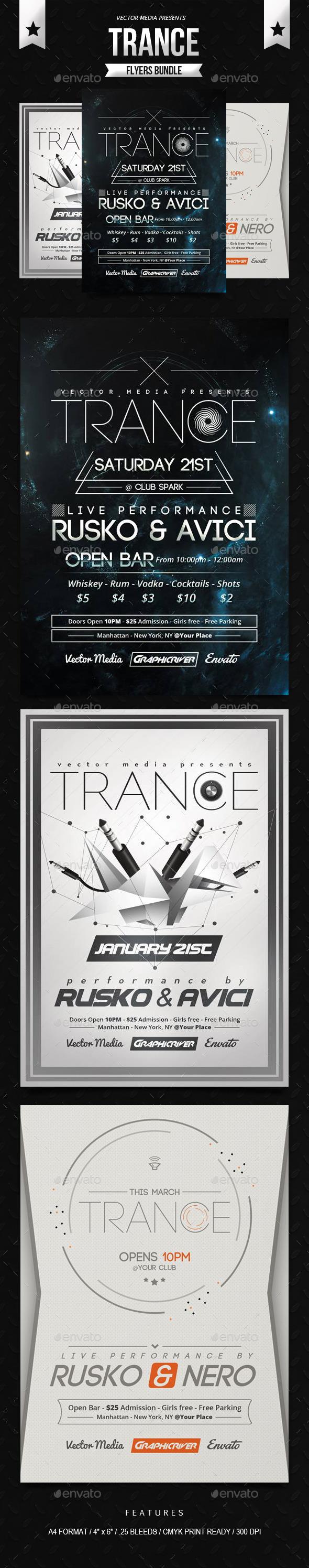 Trance - Flyers Bundle - Clubs & Parties Events