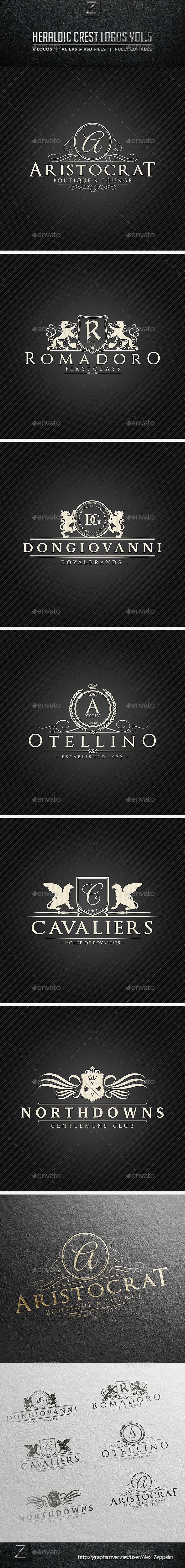 Heraldic Crest Logos Vol.5 - Badges & Stickers Web Elements