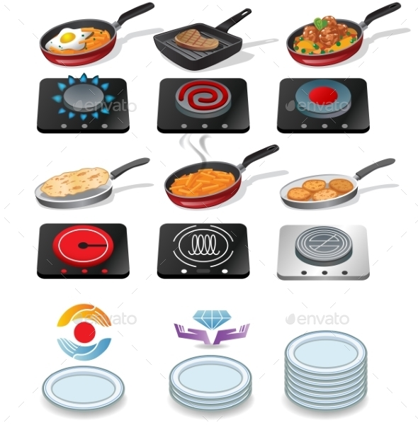 Cooking Icons Set - Food Objects