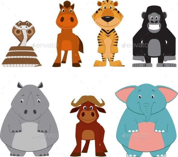Cute Colorful Exotic Animals Collection - Animals Characters