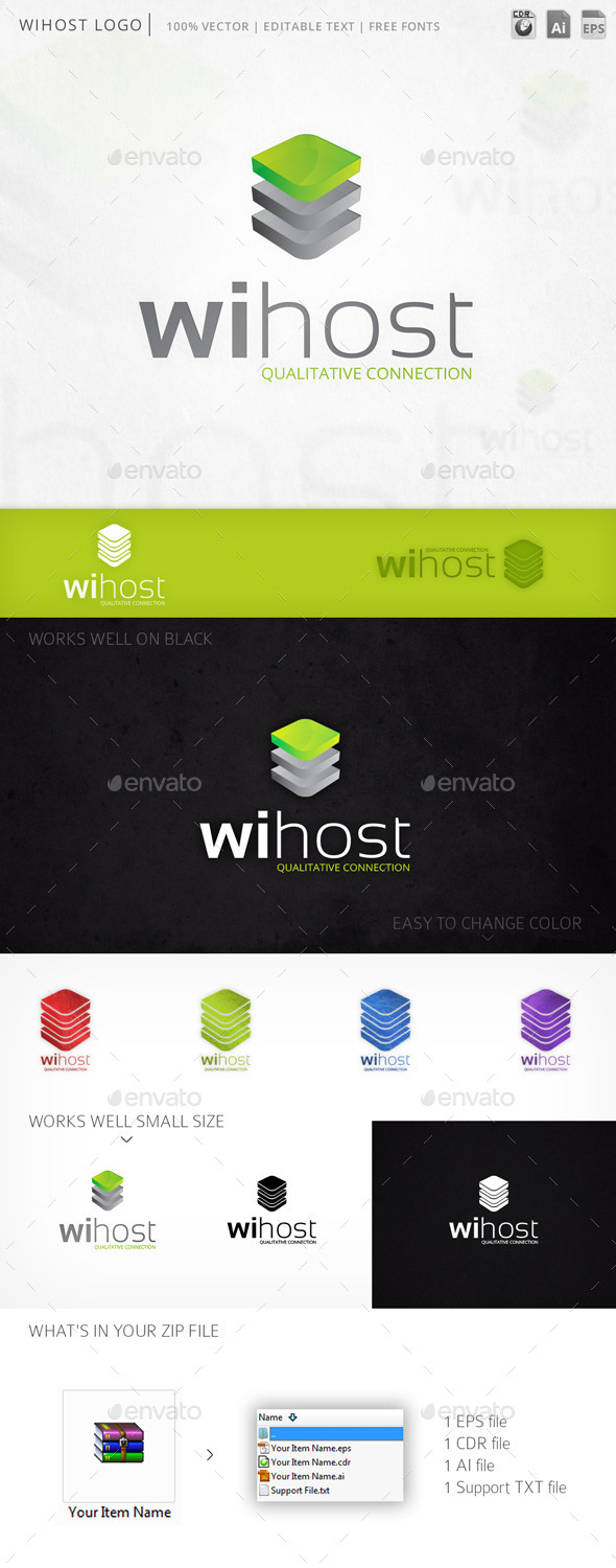 Wihost Hosting Server Logo Template - Abstract Logo Templates