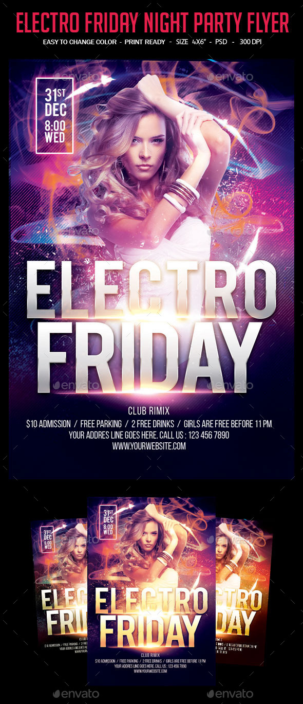 Electro Friday Night Party Flyer - Clubs & Parties Events