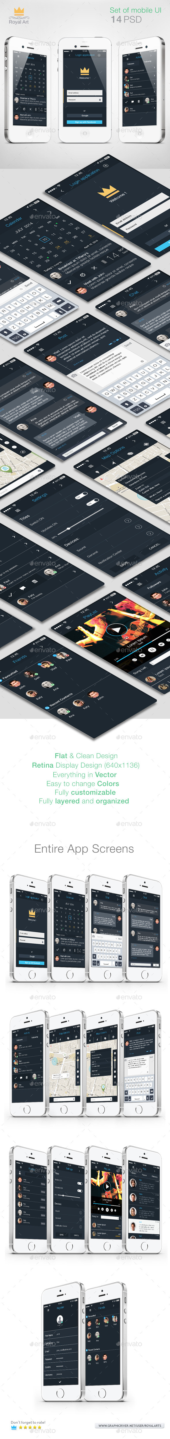 Mobile UI KIT Flat - User Interfaces Web Elements