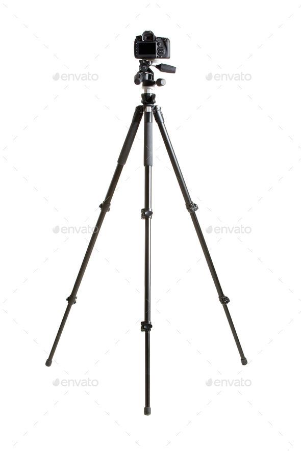 dslr camera on tripod - Stock Photo - Images