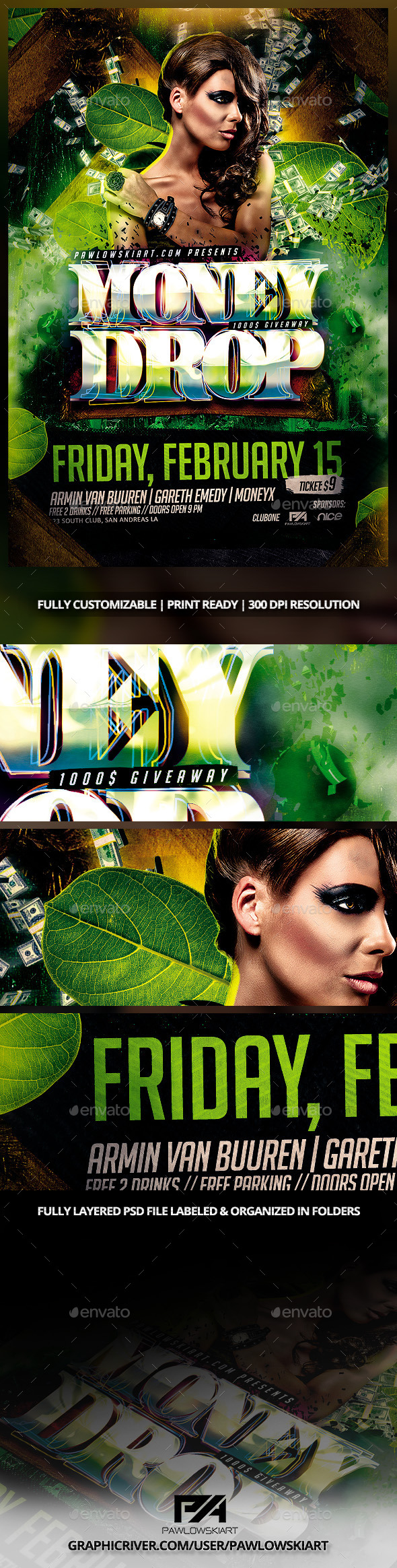Money Drop In Jungle Party Flyer PSD Template - Clubs & Parties Events