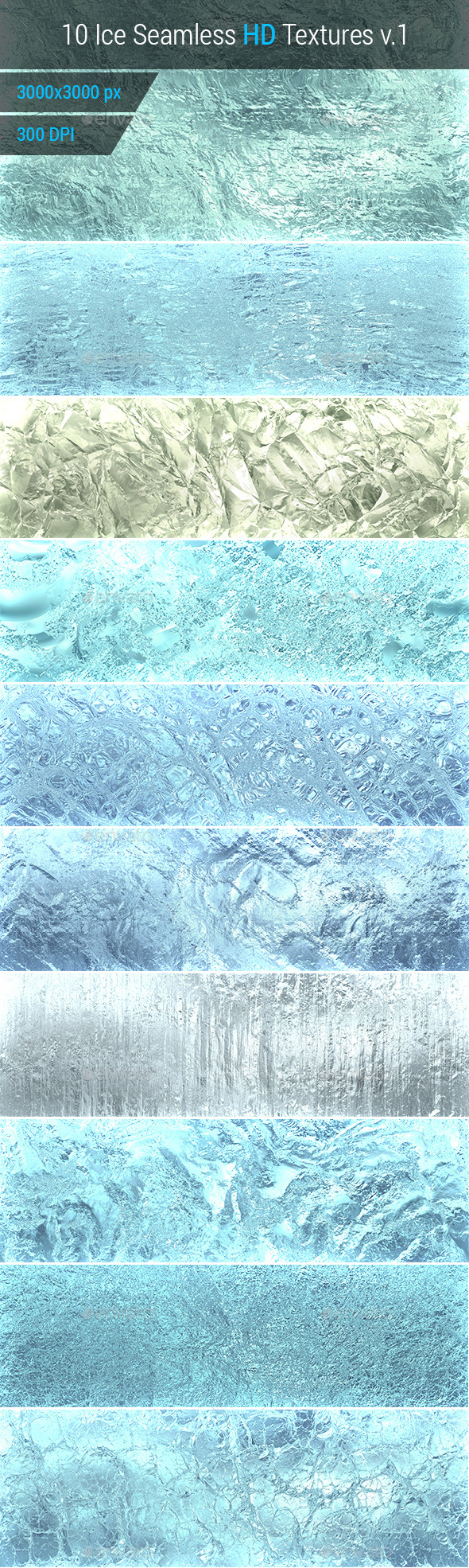 Ice Seamless and Tileable Background Texture v.1 - Nature Textures