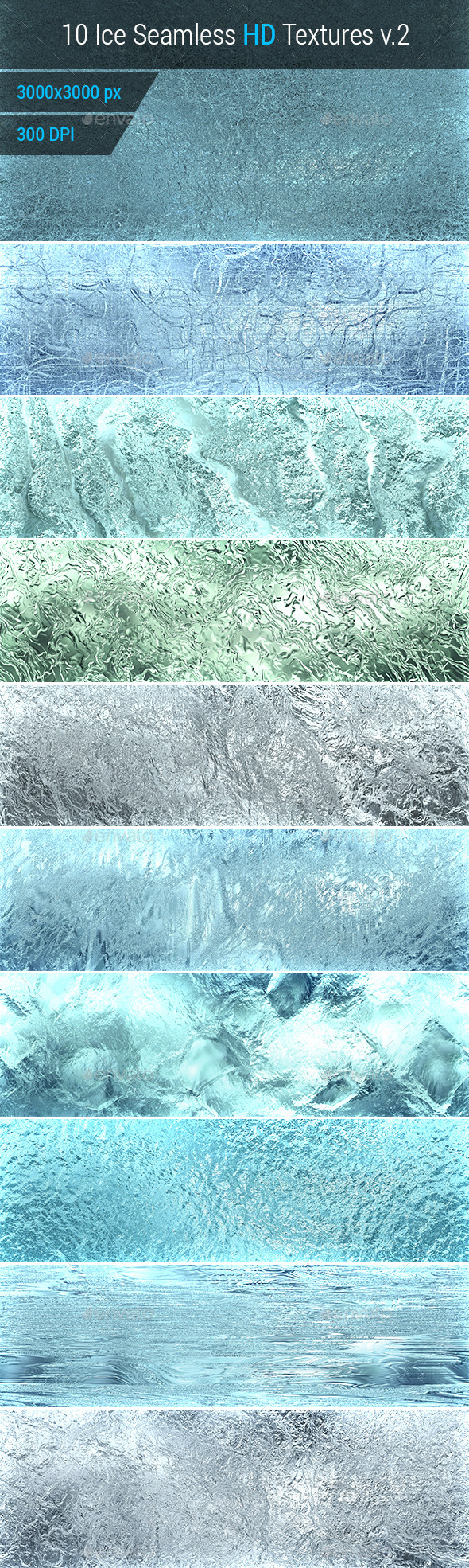 Ice Seamless and Tileable Background Texture v.2 - Nature Textures