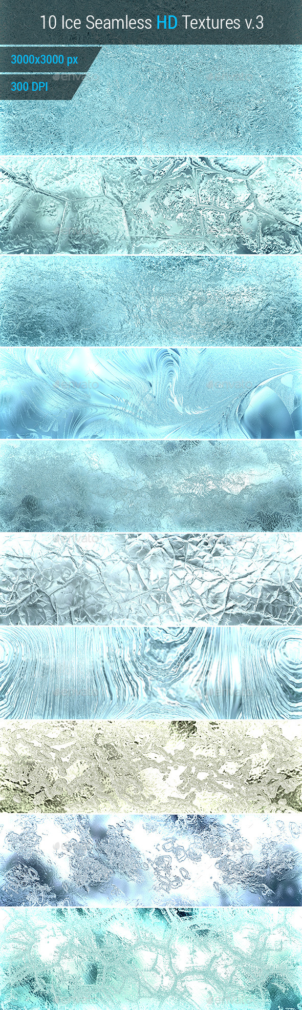 Ice Seamless and Tileable Background Texture v.3 - Nature Textures