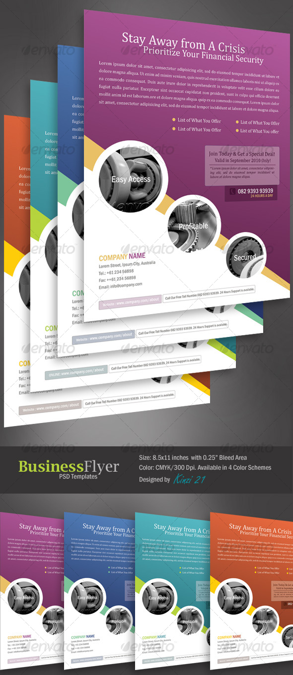 Business flyer template with 4 color schemes by kinzi21 graphicriver business flyer template with 4 color schemes corporate flyers accmission Choice Image