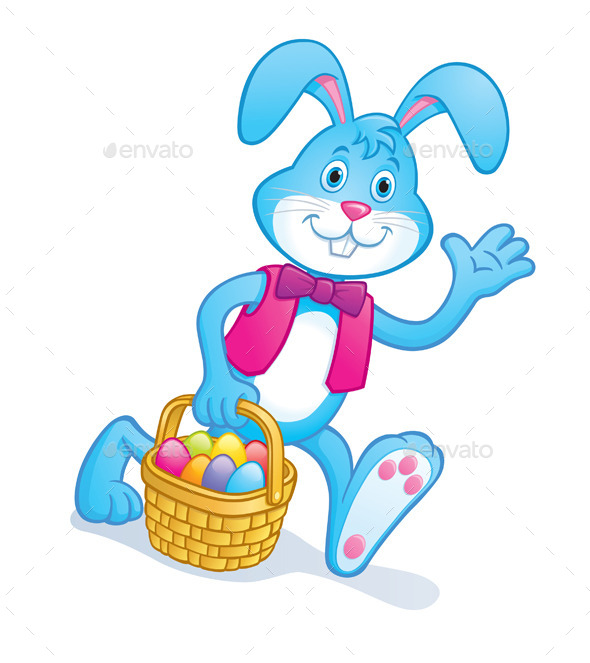 Easter Bunny Carrying Easter Basket - Animals Characters