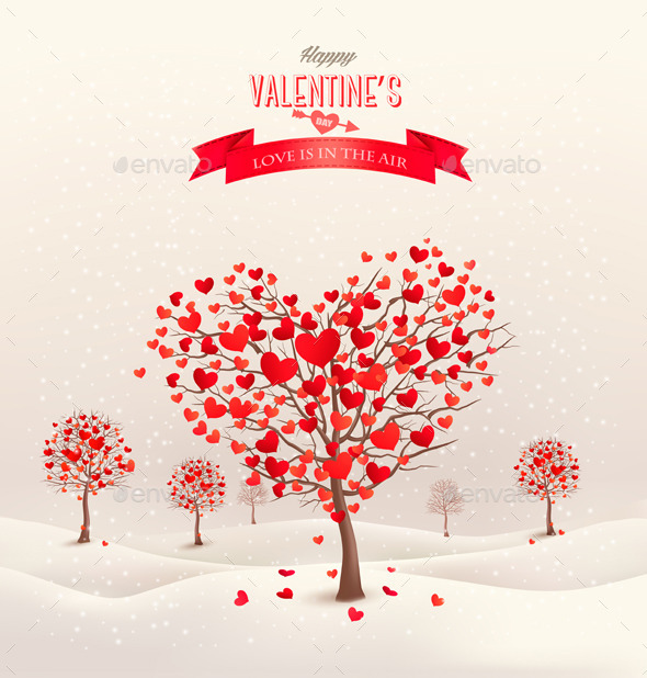 Valentine Background with Heart Shaped Trees - Valentines Seasons/Holidays