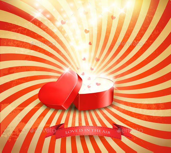 Valentines Day Background with an Open Red Box - Valentines Seasons/Holidays