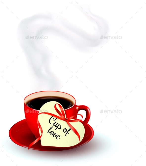 Red Cup of Coffee with a Heart Shaped Tag - Valentines Seasons/Holidays