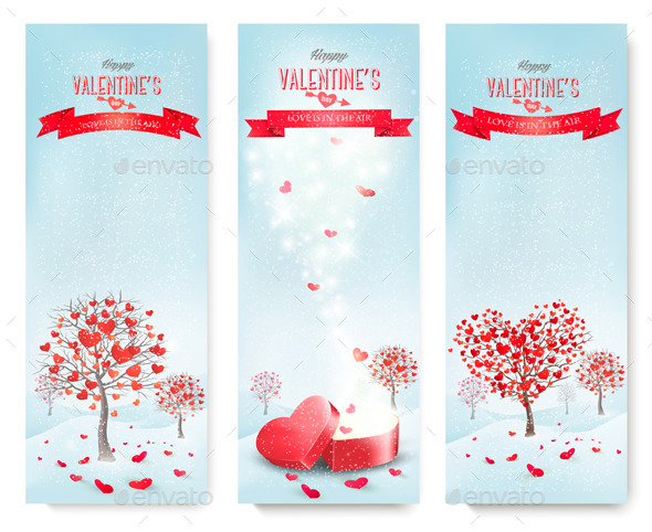 Holiday Retro Banners for Valentine's Day - Valentines Seasons/Holidays