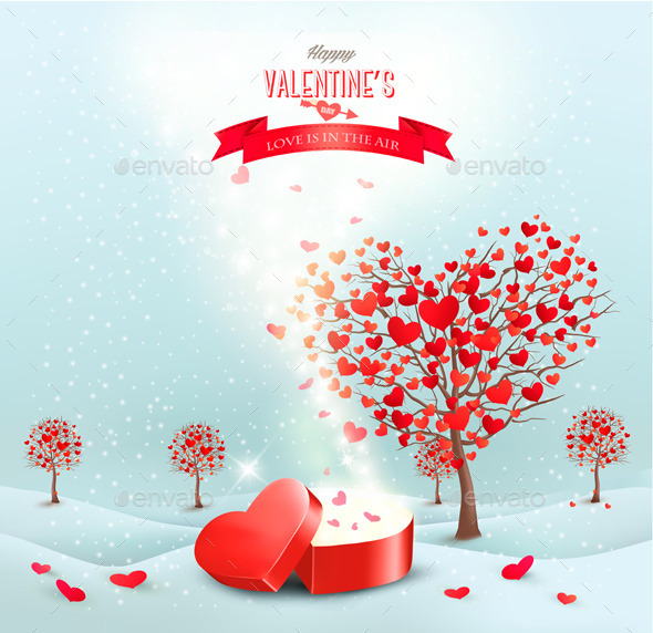 Valentines Day Landscape with Heart Shaped Trees - Valentines Seasons/Holidays