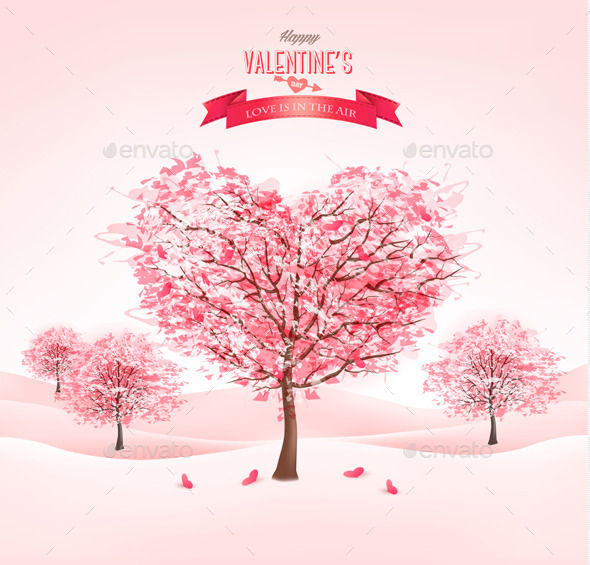 Pink Heart-Shaped Sakura Trees for Valentines Day - Valentines Seasons/Holidays