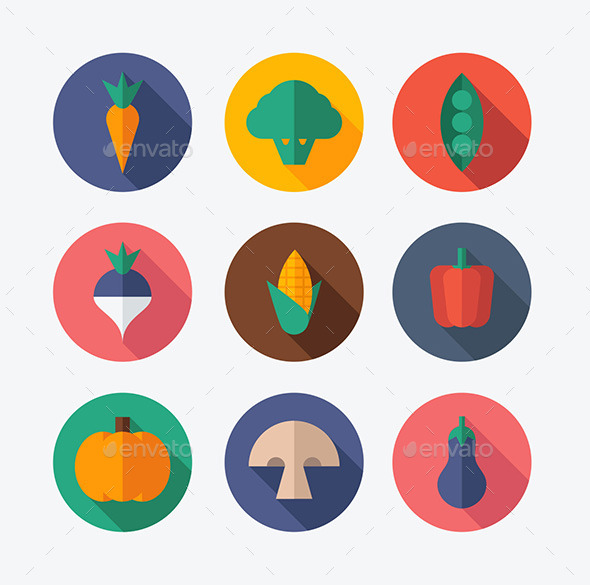 Vegetable Flat Icons - Food Objects