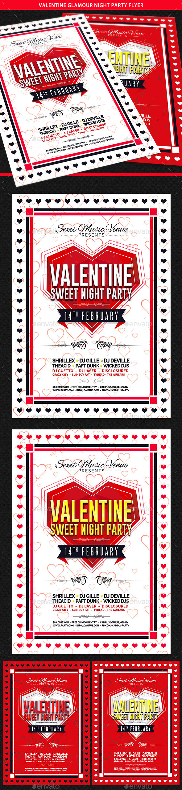Valentine Glamour Nights Party Flyer - Clubs & Parties Events