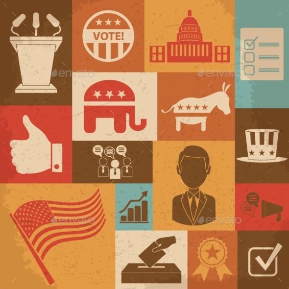 Retro Political Election Campaign Icons Set - Conceptual Vectors